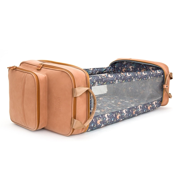 Bizzi Growin Τσάντα Αλλαξιέρα & Πτυσσόμενο Πορτ Μπεμπέ Vegan Leather RucPod Brown