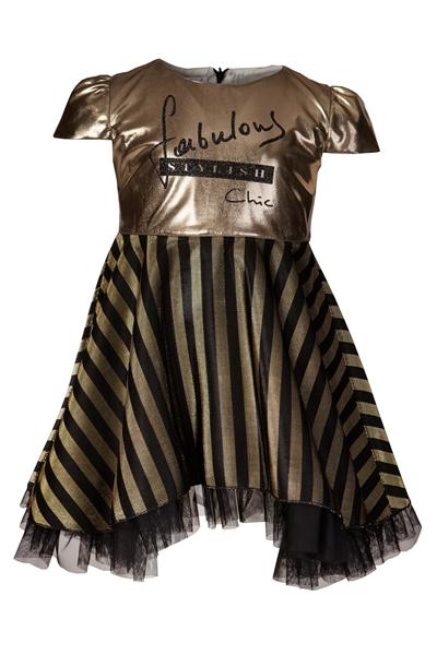 M&B Fashion Φόρεμα Χρυσό Μαύρο, Παιδικό