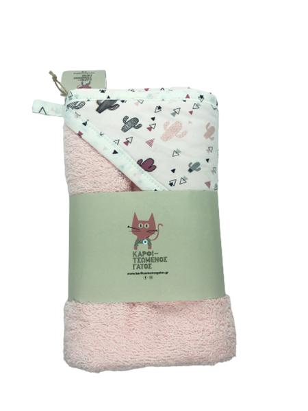 Καρφιτσωμένος Γάτος - Μπουρνουζοπετσετα - Pink Cactus