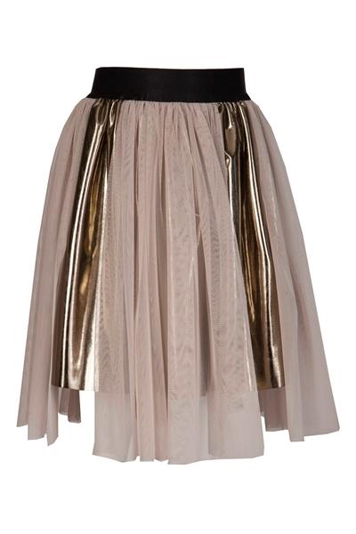 M&B Fashion Φούστα Χρυσή Με Τούλι