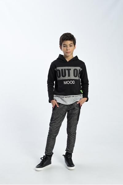 Funky Μπλούζα Για Αγόρι Φούτερ Με Κουκούλα , Μαύρο - Γκρί