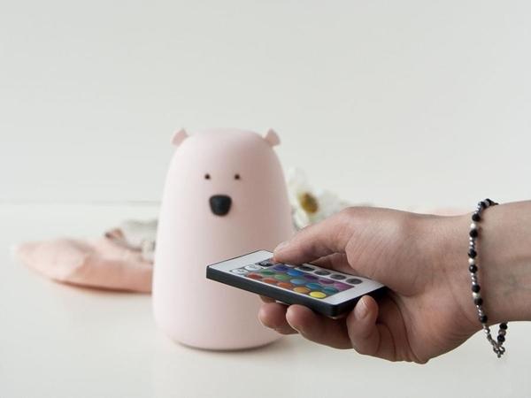 Rabbit & Friends Φωτάκι Νυκτός Bear Pink με χειριστήριο