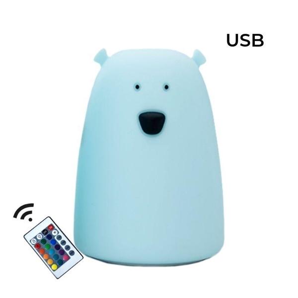 Rabbit & Friends Φωτάκι Νυκτός Bear Blue με χειριστήριο