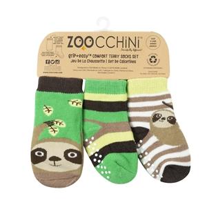 Zoocchini - Αντιολισθήτικά Καλτσάκια Grip + Easy Καλτσάκια Silas the Sloth 0-24 μηνών
