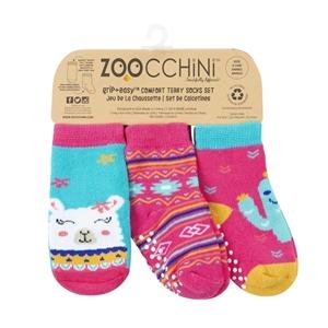 Zoocchini - Αντιολισθήτικά Καλτσάκια Grip + Easy Καλτσάκια Laney the Llama 0-24 μηνών