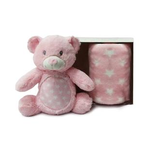Dim Collection Λούτρινο Αρκουδάκι με Fleece Κουβερτούλα, Ροζ