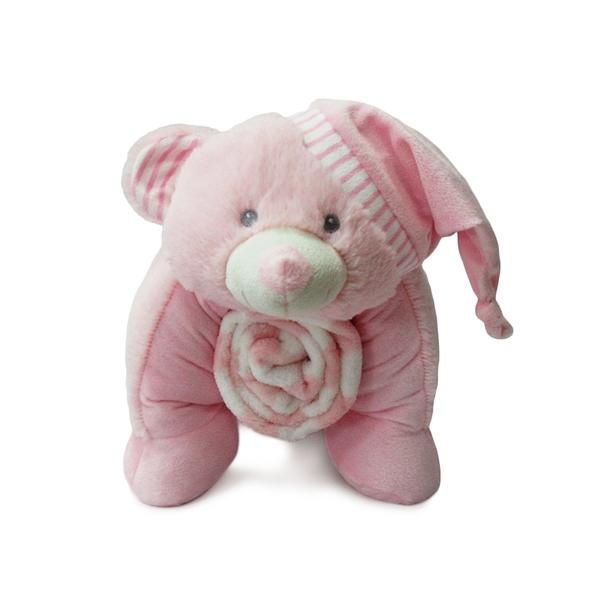 Dim Collection Λούτρινος Αρκούδος 50εκ. με Fleece Κουβερτούλα, Ροζ