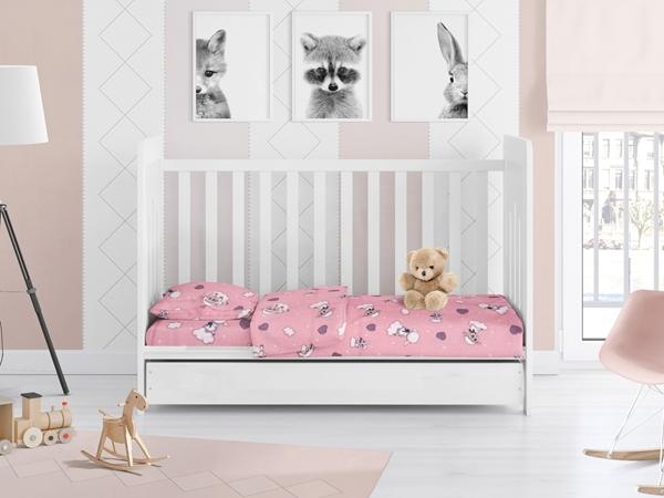 Dim Collection - Σετ σεντόνια Φανελένια κούνιας 3τμχ - Προβατάκι Ροζ