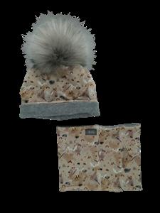 Ul & Ka Σκούφος και Λαιμός Pompom Winter Grey