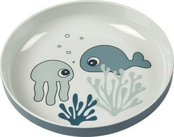 Done by Deer Πιάτο Yummy Mini Sea Friends Blue