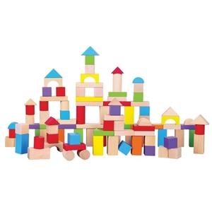 New Classic Toys Ξύλινα Μπλοκ Κατασκευών Colored 100 τεμάχια