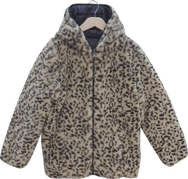 Εβίτα Fashion Μπουφάν Διπλής Όψεως Animal, Μαύρο