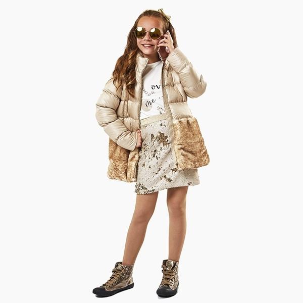 Εβίτα Fashion Μπουφάν Με Γούνινες Λεπτομέρειες, Μπέζ