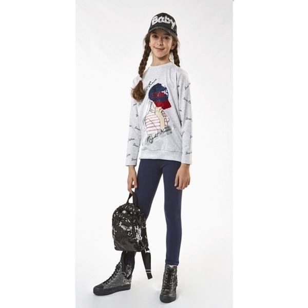 Εβίτα Fashion Μπλούζα Μακρυμάνικη Κορίτσι, Γκρί