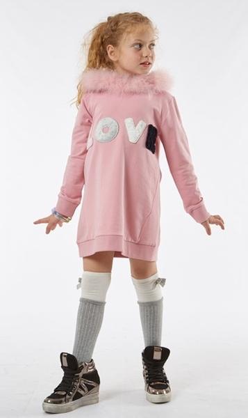 Εβίτα Fashion Φόρεμα Φούτερ Με Κουκούλα, Ροζ