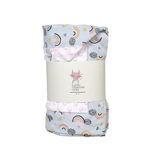 Καρφιτσωμένος Γάτος - Βρεφική Κουβέρτα Αγκαλιάς με σχέδιο Rainbows