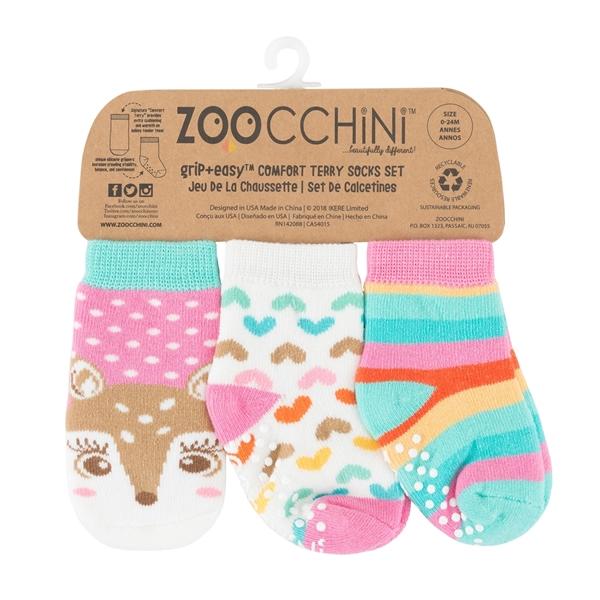 Zoocchini - Αντιολισθήτικά Καλτσάκια Grip + Easy Καλτσάκια Fiona the Fawn 0-24 μηνών