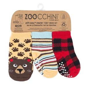 Zoocchini - Αντιολισθήτικά Καλτσάκια Grip + Easy Καλτσάκια Bosley the Bear 0-24 μηνών