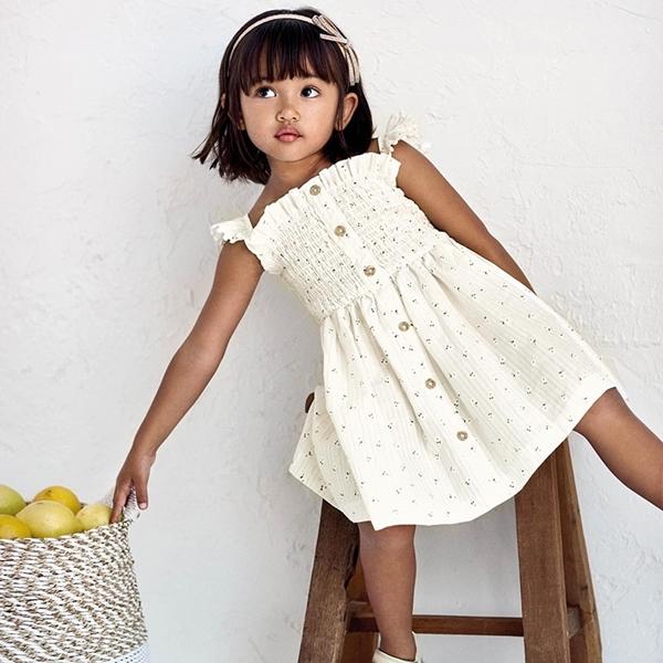 Mayoral Παιδικό Φόρεμα Σφηγγοφωλιά, Εκρού