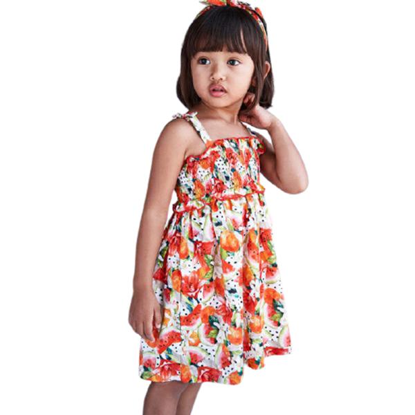 Mayoral Παιδικό Σετ Φόρεμα Εμπριμέ Σφηγγοφωλιά Με Κορδέλα, Κοραλί