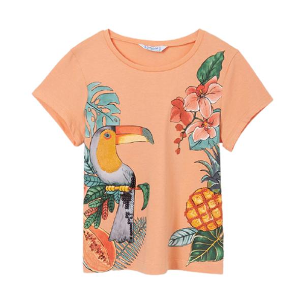 Mayoral Κοντομάνικη Μπλούζα Για Κορίτσι , Ροδακινί