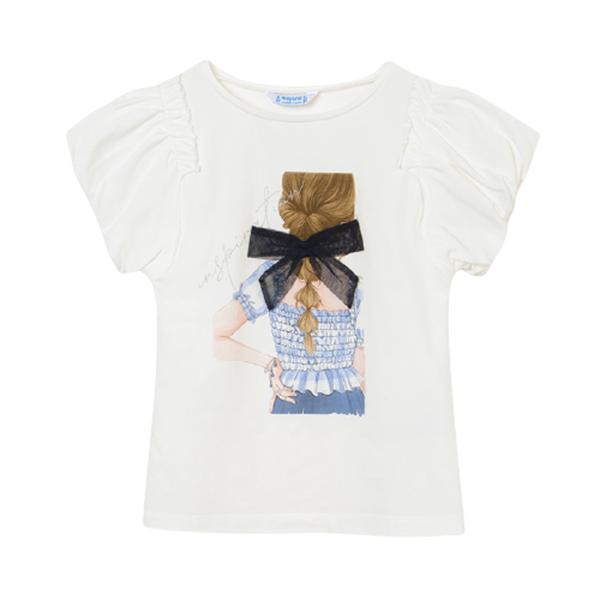 Mayoral Κοντομάνικη Μπλούζα Για Κορίτσι Πλάτη, Λευκή