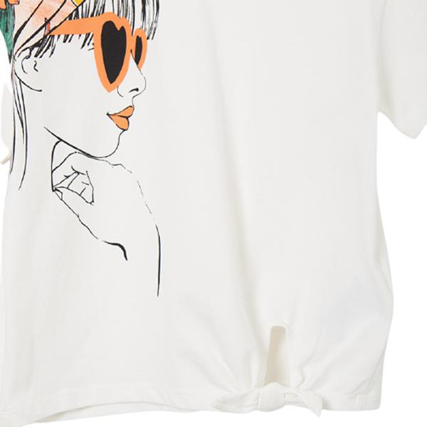 Mayoral Κοντομάνικη Μπλούζα Για Κορίτσι Με Κόμπο, Εκρού