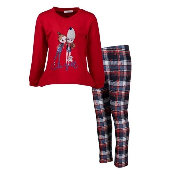 Εβίτα Fashion Παιδικό Σετ Μπλούζα Mε Κολάν Καρώ, Κόκκινο