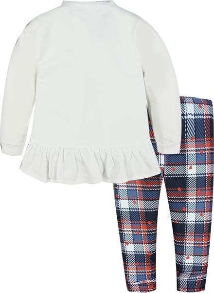 Εβίτα Fashion Παιδικό Σετ Μπλούζα Mε Κολάν Καρώ, Λευκό