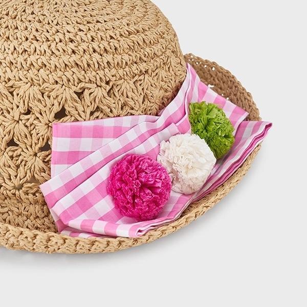 Mayoral Καπέλο Ψάθινο Φιόγκος, Ροζ