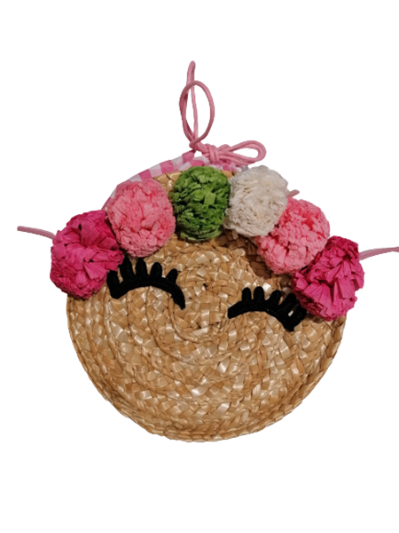 Mayoral Παιδική Τσάντα Ψάθινη Με Λουλούδια Πουγκί, ροζ