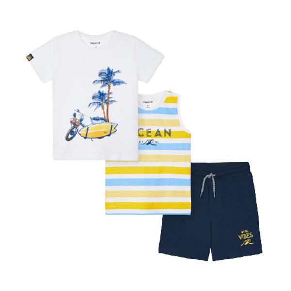 Mayoral Παιδικό Σετ 2 Μπλούζες και Μακώ Βερμούδα Για Αγόρι, Κίτρινο
