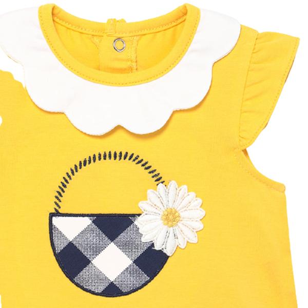 Mayoral Bebe Σετ 4 τεμαχίων Μακώ Σορτς Μπλούζα Για Νεογέννητο Κορίτσι, Μπλέ - Κίτρινο