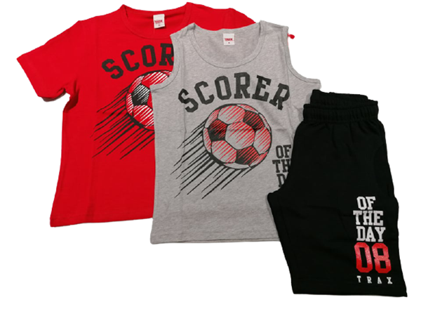 TRAX Σετ 3 τμχ Βερμούδα Με Κοντομάνικη και Αμάνικη Μπλούζα Soccer Για Αγόρι, Κόκκινο
