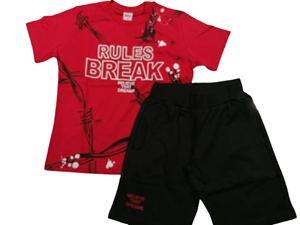 TRAX Σετ Βερμούδα Με Κοντομάνικη Μπλούζα Rules Break Για Αγόρι, Κόκκινο