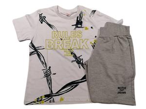 TRAX Σετ Βερμούδα Με Κοντομάνικη Μπλούζα Rules Break Για Αγόρι, Λευκό