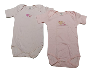 Ersa's Σετ 2 Φανελάκια Ολόσωμα Κοντομάνικο Για Νεογέννητο Κορίτσι Αρκουδάκι, Ροζ