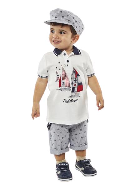 Hashtag Baby Σετ Βερμούδα Και Μπλουζα Με Γιακά Sailing, Μπλέ