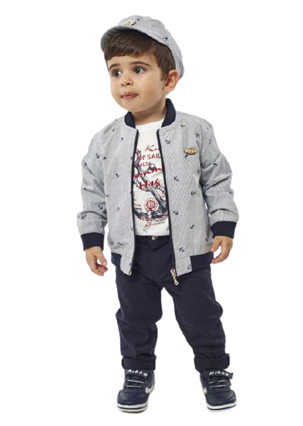Hashtag Baby Σετ 3 τεμ Παντελόνι, Μπλούζα Και Τζάκετ, Μπλέ