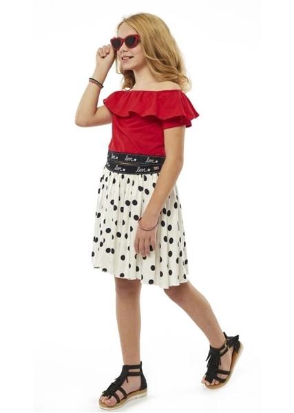 Εβίτα Fashion Σετ Πουκαμίσα και Φούστα Πουά, Κόκκινο