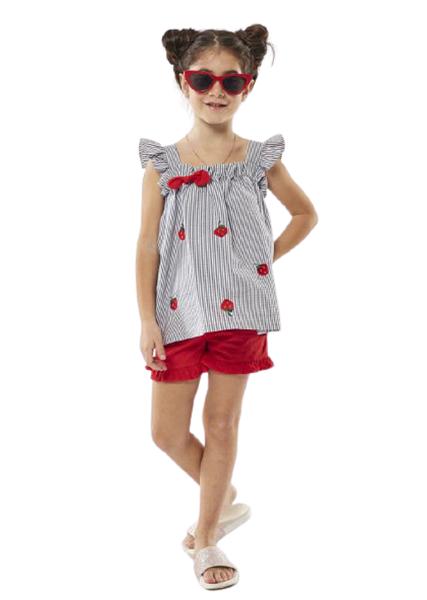 Εβίτα Fashion Παιδικό Σετ Πουκαμίσα και Σορτς Φραουλίτσες , Κόκκινο