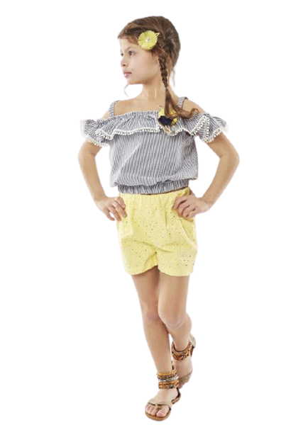 Εβίτα Fashion Παιδικό Σετ Πουκαμίσα και Σορτς , Κίτρινο
