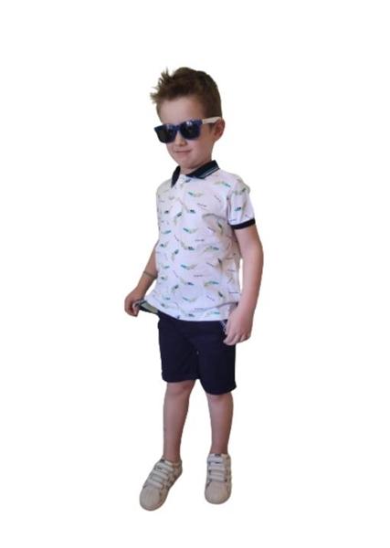 Hashtag Παιδικό Σετ Παντελόνι Και Μπλούζα Με Γιακά Κροκόδειλος, Μπλέ