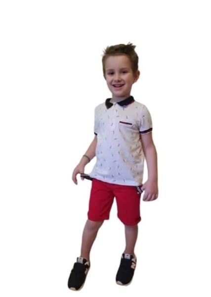 Hashtag Παιδικό Σετ Παντελόνι Και Μπλούζα Με Γιακά, Κόκκινο