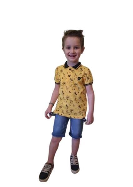 Hashtag Παιδικό Σετ Παντελόνι Και Μπλούζα Με Γιακά, Κίτρινο