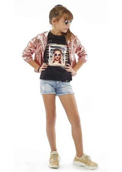 Εβίτα Fashion Μπλούζα Κοντομάνικη Κορίτσι, Μαύρη