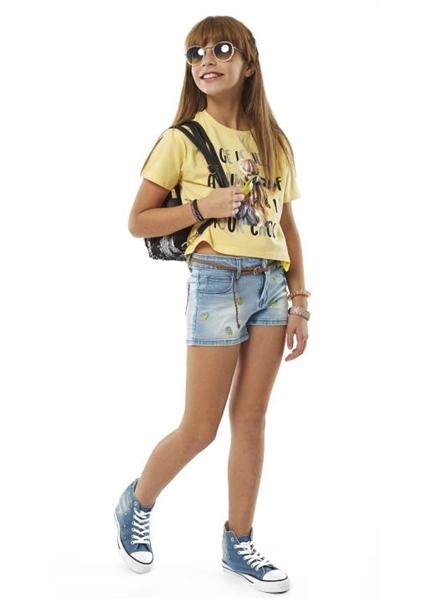 Εβίτα Fashion Μπλούζα Κοντομάνικη Κοπέλα, Κίτρινη