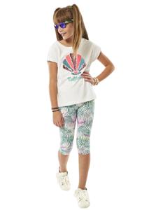 Εβίτα Fashion Σετ Κάπρι, Με Κοντομάνικη Μπλούζα Κοχύλια, Λευκό