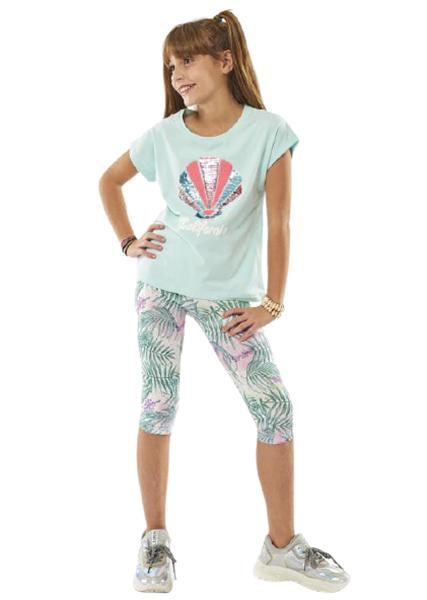 Εβίτα Fashion Σετ Κάπρι, Με Κοντομάνικη Μπλούζα Κοχύλια, Μέντα