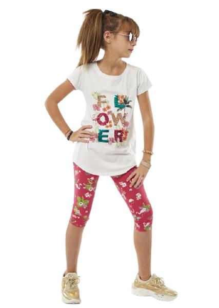 Εβίτα Fashion Σετ Κάπρι, Με Κοντομάνικη Μπλούζα Flowers, Φούξια